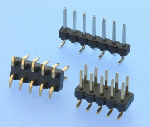 SMT Pin Headers 2.54mm Pitch Vertical Single / Double Row Insulator Thermoplastic
